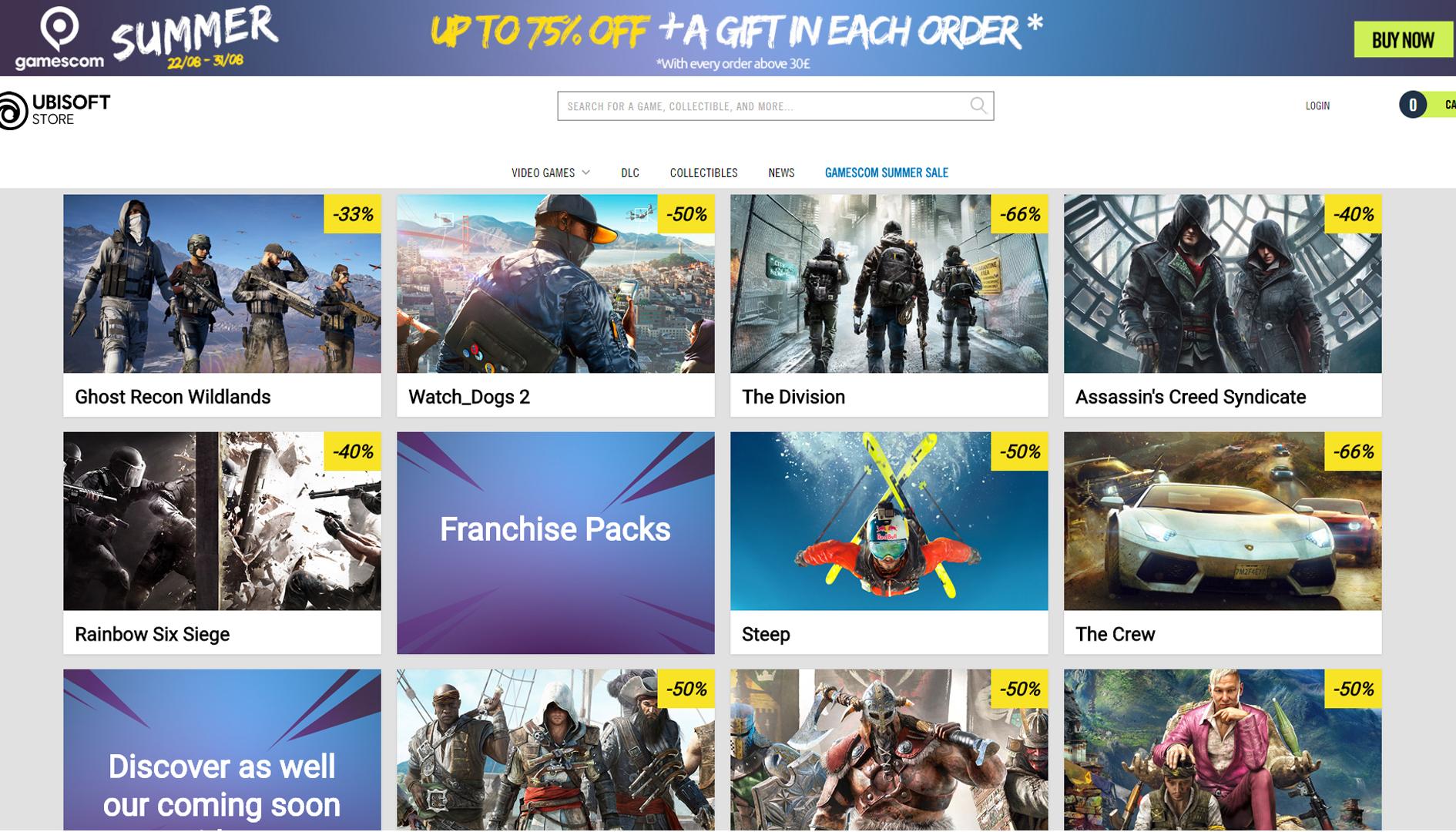 Ubisoft Store, sono iniziati i saldi in occasione dell'E3 2019