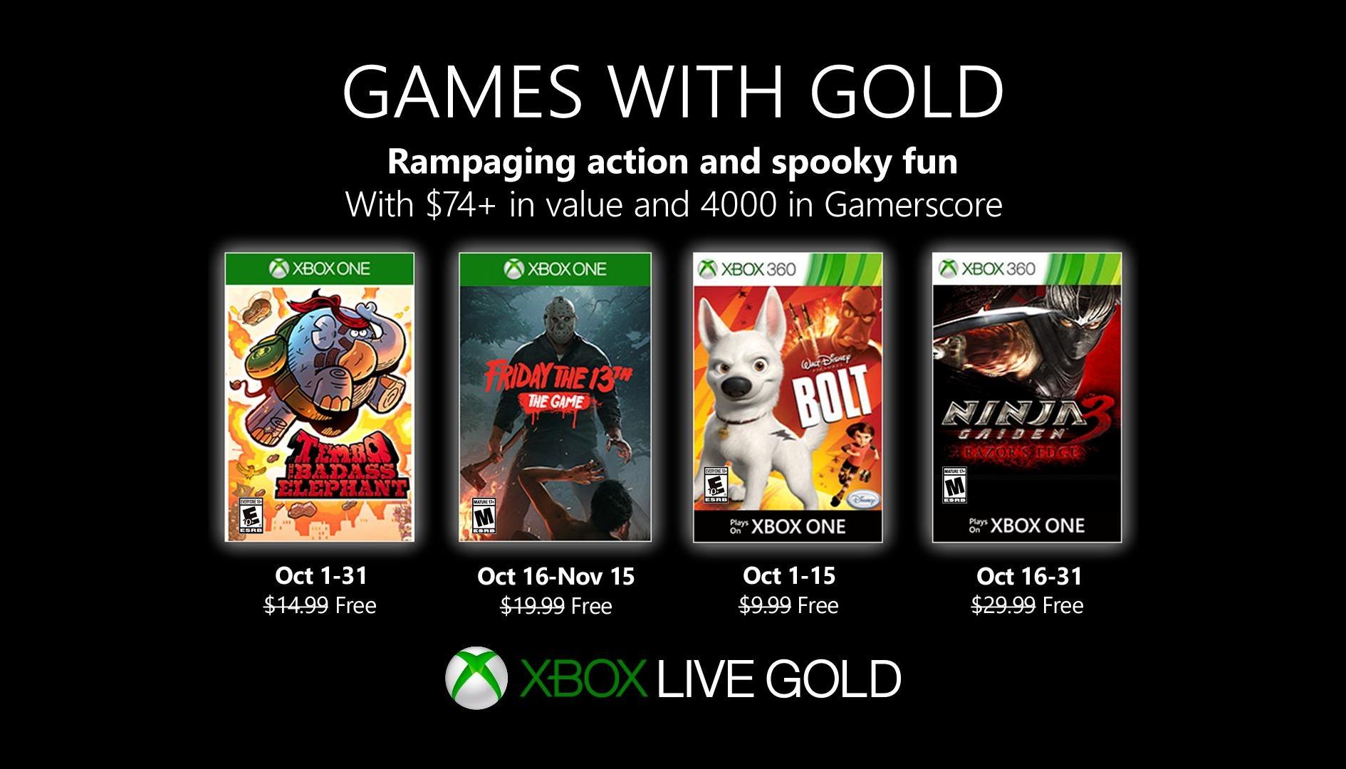 Games With Gold ottobre 2019: ecco i giochi gratis per Xbox One e Xbox 360