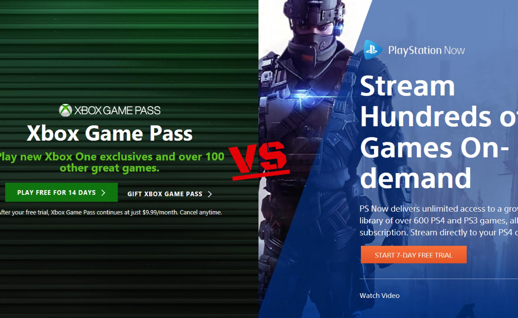 PS Now e Xbox Game Pass stanno usando lo stesso slogan?