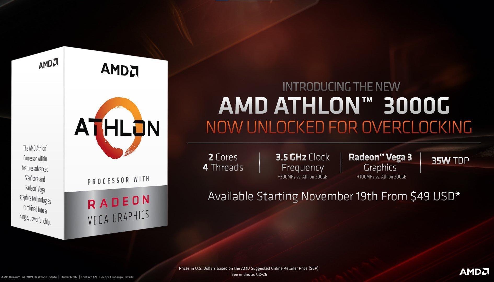 AMD, ecco l'Athlon 3000G per la fascia bassa: overcloccabile e costa poco