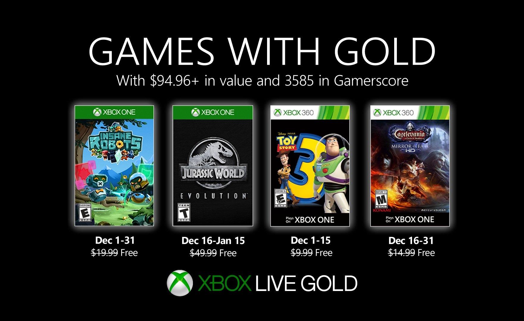 Insane Robots e Jurassic World tra i Games with Gold di Dicembre