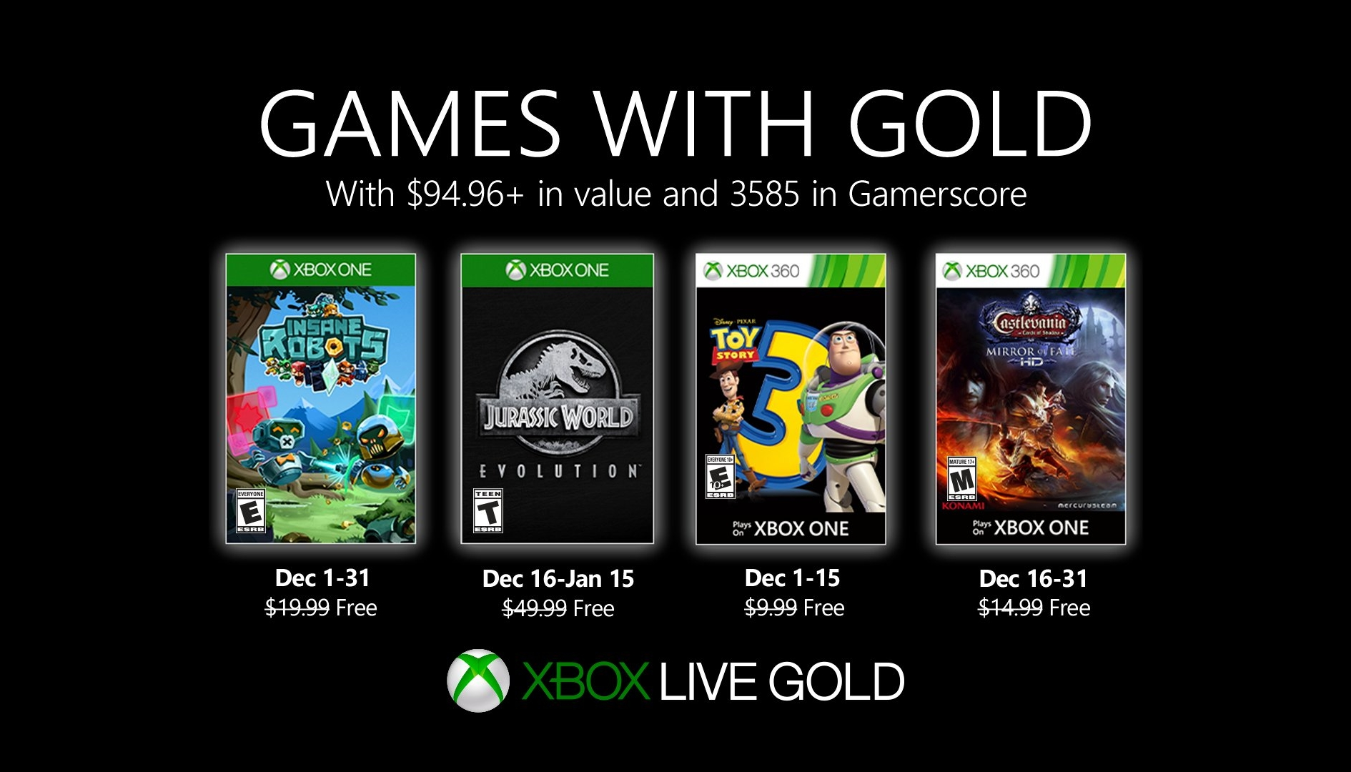 Insane Robots e Jurassic World tra i Games with Gold di Dicembre