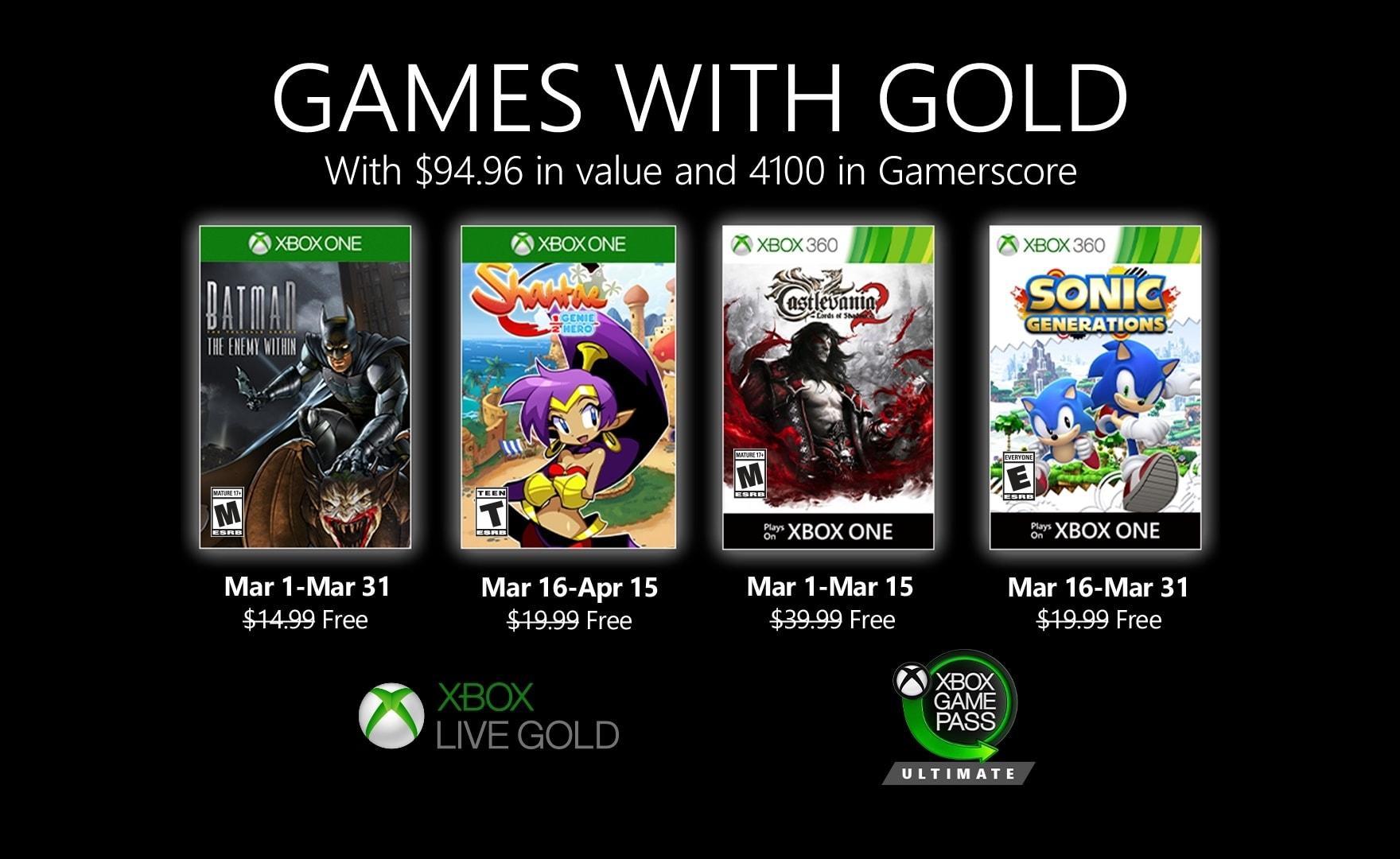 Xbox Games with Gold: annunciati i giochi gratis di marzo 2020