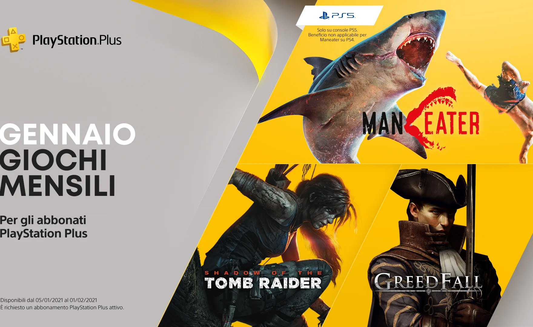 PS Plus, i giochi gratis PS4 e PS5 di gennaio 2021